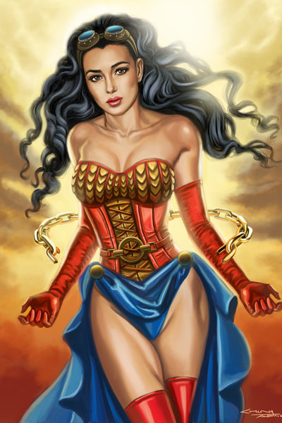 Steampunk Wonder Woman Art Print