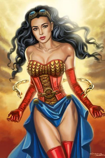 Steampunk Wonder Woman Art Print