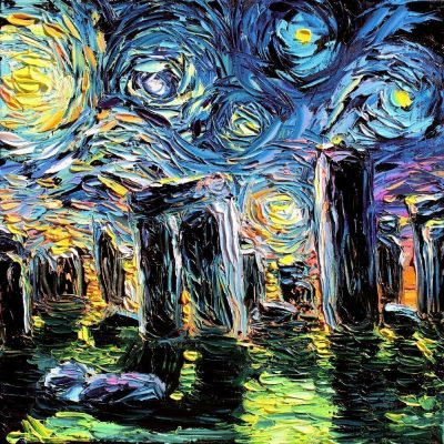 Stonehenge Starry Night Mash-Up Print