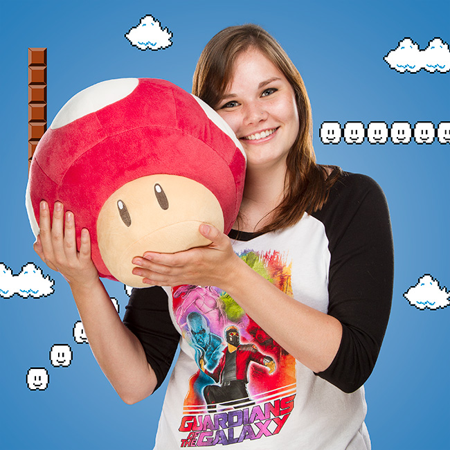 Super Mario Retro Mushroom 14in Plush