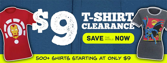 SuperHeroStuff T-Shirt Clearance Sale