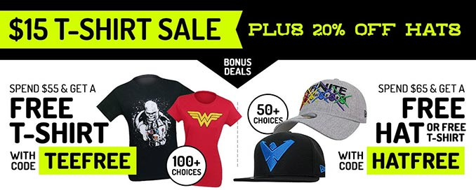 SuperHeroStuff T-Shirt Sale + Free Shirt & Free Hat Offers