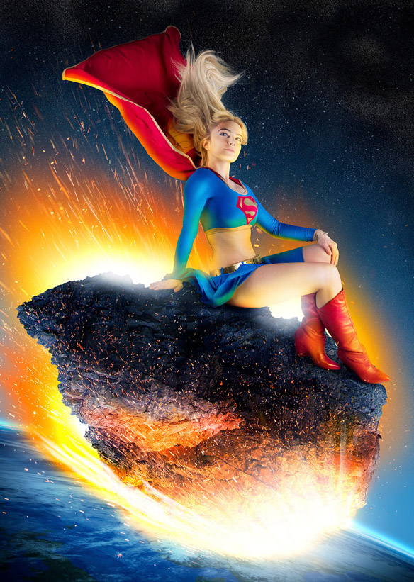 Supergirl Re Entry Metal Poster
