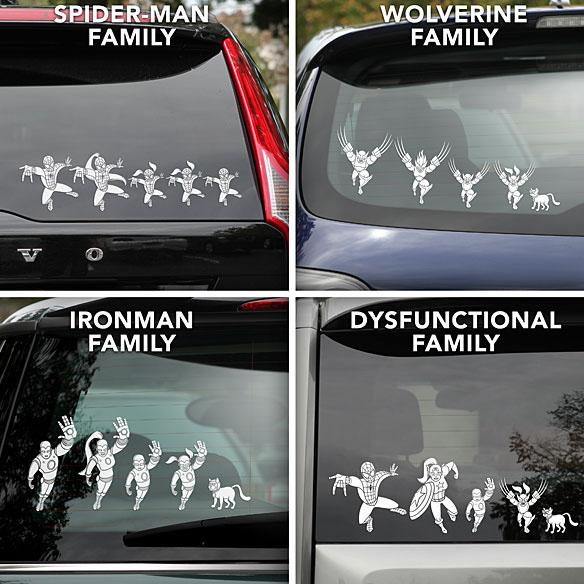 Superhero Family Car Decals