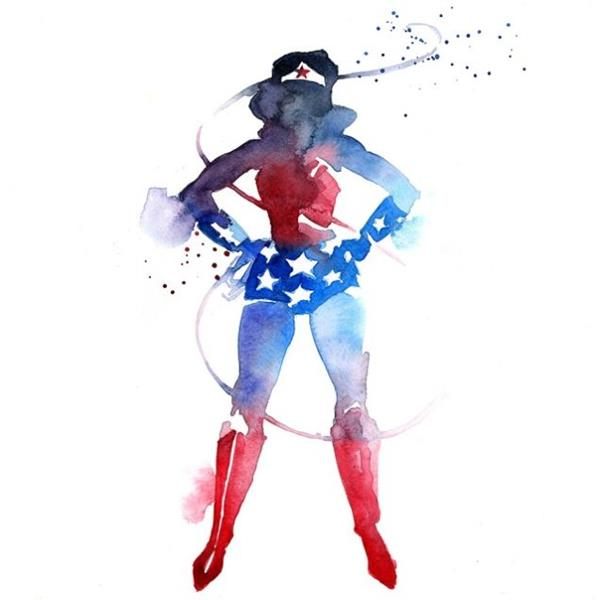 Superhero watercolor art prints - Super heros fille marvel ...