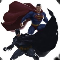 Superman Batman Yin Yang Art Print