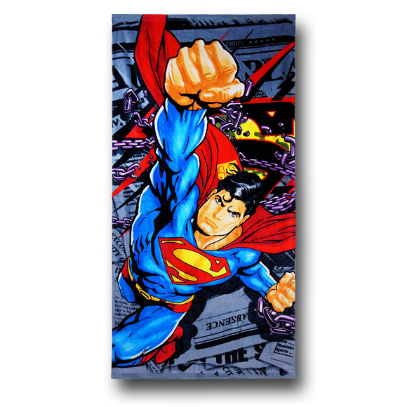 Superman Daily Planet and Chains Beach Towel