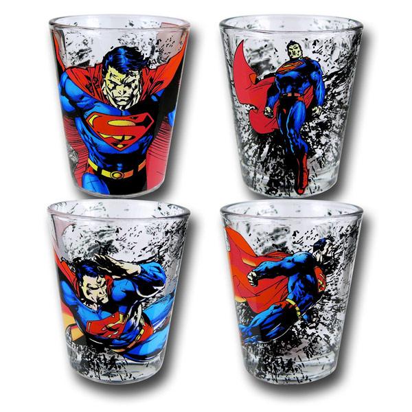 Superman Gets Dirty 4 Pack Shot Glass Set