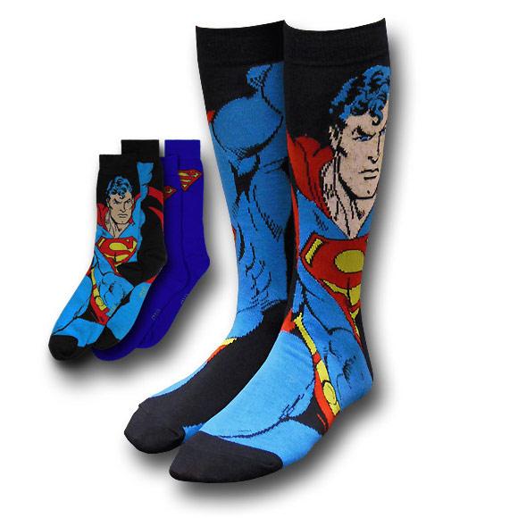 Superman-Image-and-Symbol-Blue-Socks