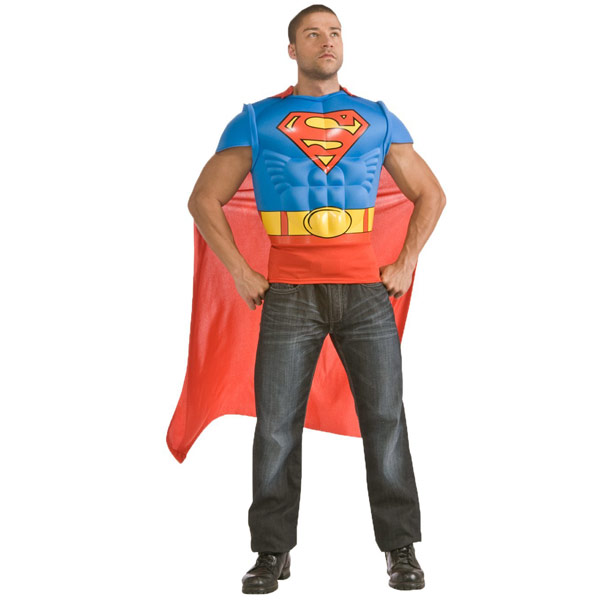 Superman Muscle Chest Shirt With Cape Costume