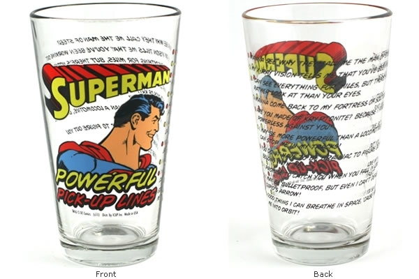 superman powerful pick up lines pint glass