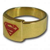 Superman Red Symbol Gold Ring