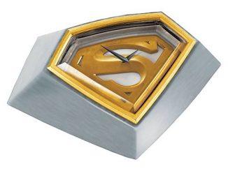 Superman Returns Gold Plated Brushed Metal Desk Clock