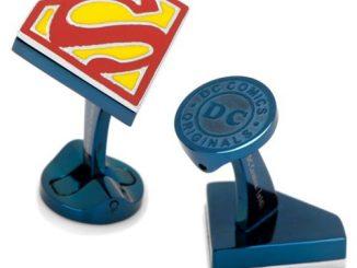 Superman Shield Logo Blue Stainless Steel Cufflinks