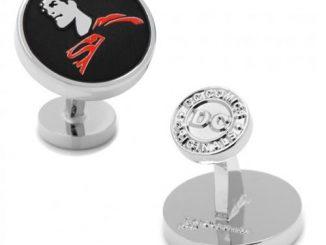 Superman Silhouette Silver Cufflinks