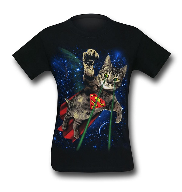 Superman Super Kitty in Space Mens T-Shirt
