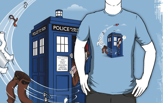 Superman Visits TARDIS Shirt