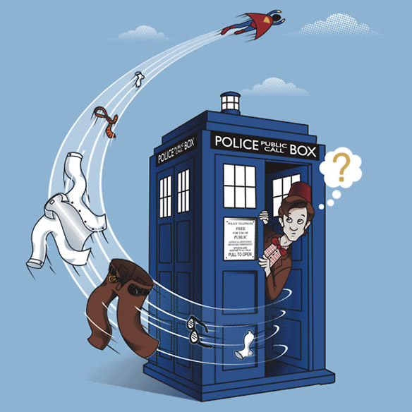 Superman Visits TARDIS T-Shirt
