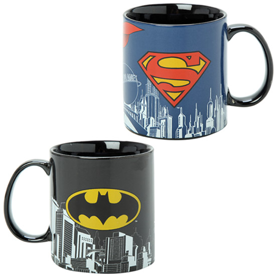 Superman and Batman Skyline Mugs