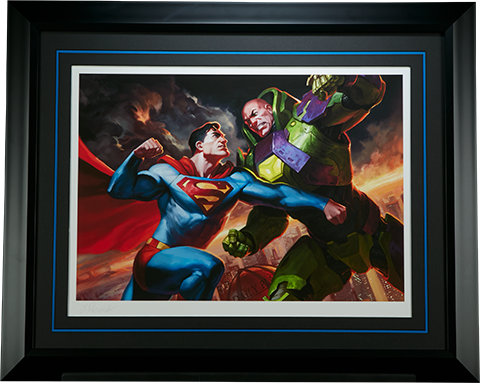Superman vs Lex Luthor Premium Art Print_framed
