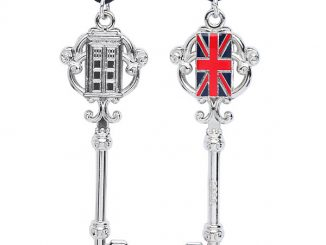 Doctor Who TARDIS & Union Jack Antique Key Necklace