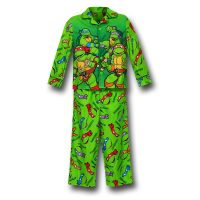 TMNT Green Button Up Kids Pajamas