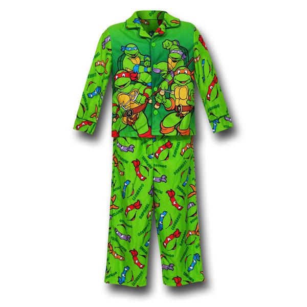 TMNT Green Button-Up Kids Pajama Set