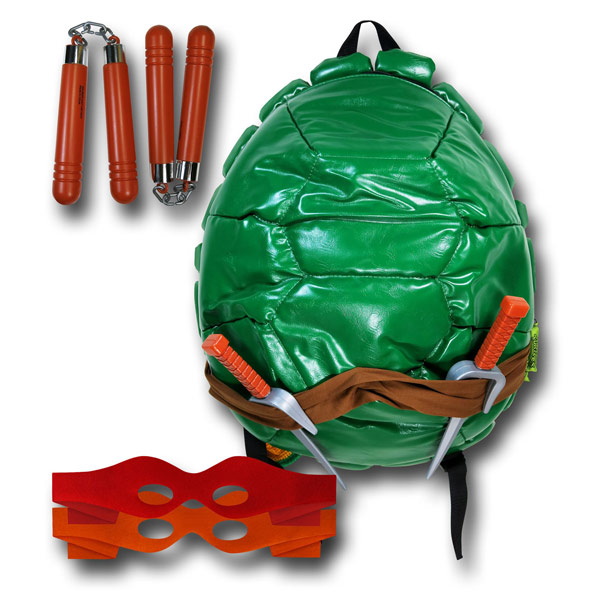 TMNT Turtle Shell Backpack with Masks and Weapons