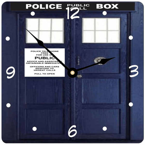 doctor who tardis phone booth wall clock