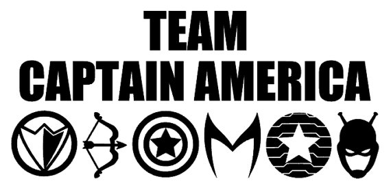 Team Captain America Car Decals