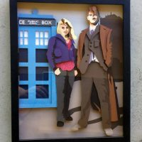 Tenth Doctor and Rose Papercraft Shadowbox