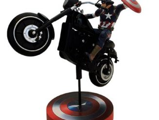 The Avengers Age of Ultron Captain America Rides on Motorcycle Premium Motion Statue