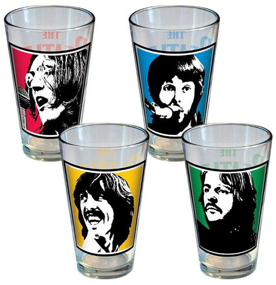 The beatles individual picture fab four pint glasses