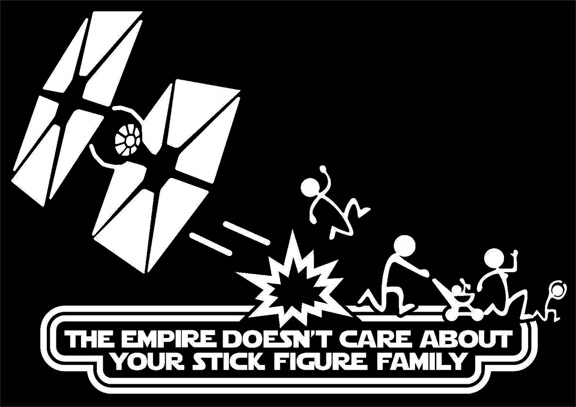 The Empire Doesn't Care About Your Stick Figure Family Star Wars Vinyl Car Decal Sticker with TIE Fighter