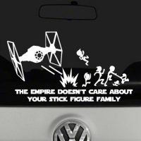 The Empire Doesn't Care About Your Stick Figure Family Vinyl Decal Sticker