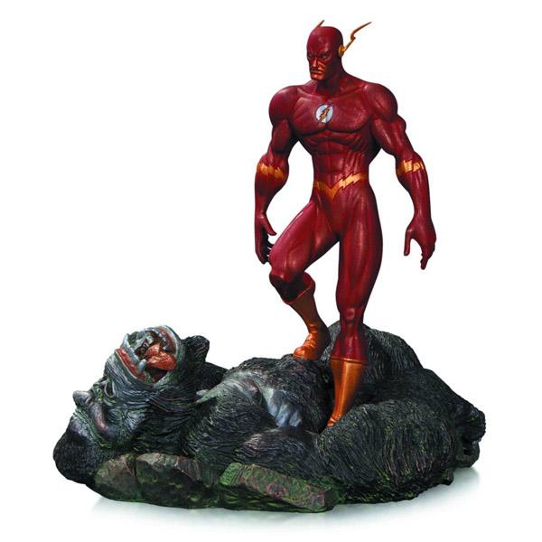 The Flash vs. Gorilla Grodd Patina Mini Statue
