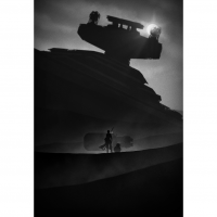 The Force Awakens Rey Kylo Ren Finn Noir Art Prints 1