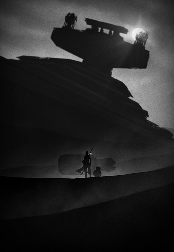 The Force Awakens Rey Kylo Ren Finn Noir Art Prints