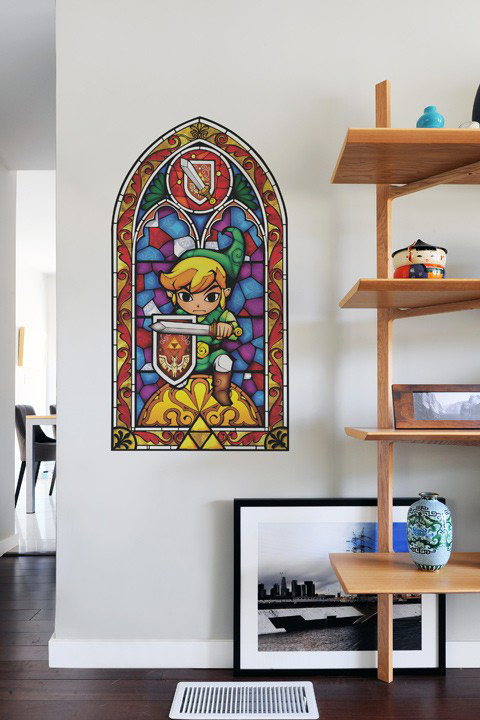 The legend of zelda stained glass wall decals for Decoration zelda