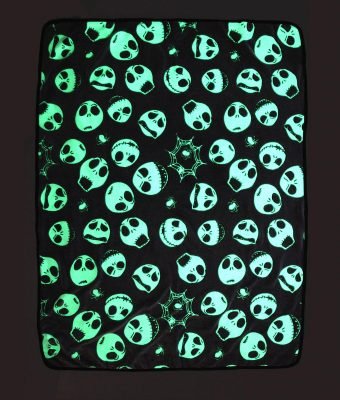 The Nightmare Before Christmas Glow-In-The-Dark Jack & Spider Throw Blanket