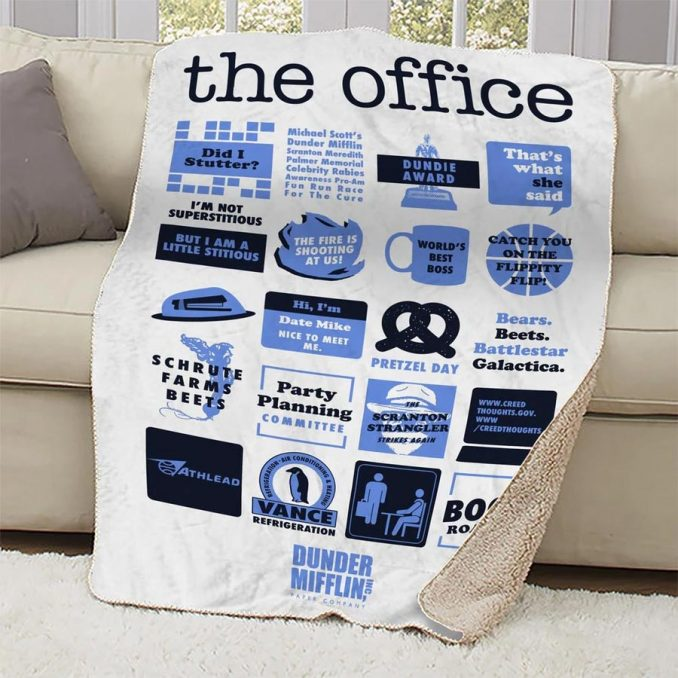 The Office Mash-Up Sherpa Blanket White