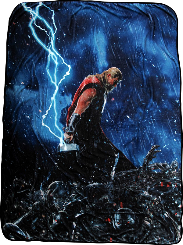 thor age of ultron lightning hammer fleece blanket