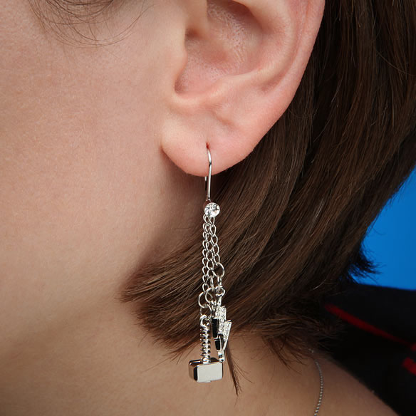 Thor Hammer & Lightning Bolt Earrings