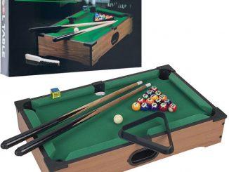 Trademark Games Mini Tabletop Pool Table Wood Billiards Set