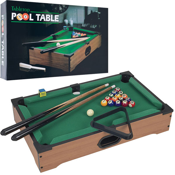 Trademark Games Mini Tabletop Pool Table Wood Billiards Set