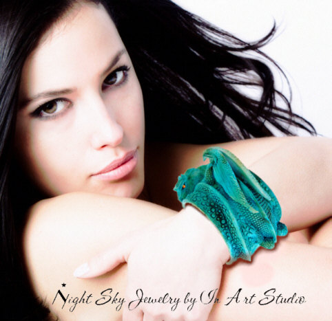 Turquoise Dragon Bracelet with model