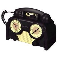 US Basic AM/FM Retro Clock Radio Phone
