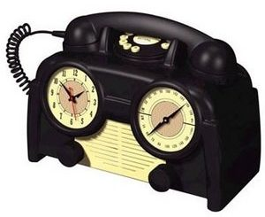 US Basic AM/FM Retro Clock Radio Phone