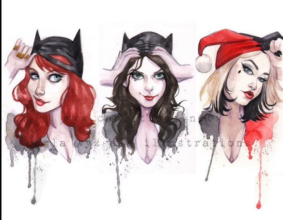 UnMasked Batman Batgirl Catwoman Harley Quinn Art Print
