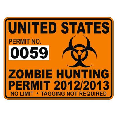 United States Zombie Hunting Permit Sticker